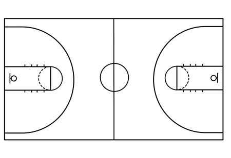 Terrain de basket sur fond blanc, illustration vectorielle