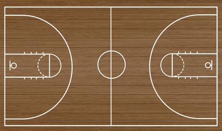 Piso de la cancha de baloncesto sobre fondo de madera con textura, ilustración vectorial