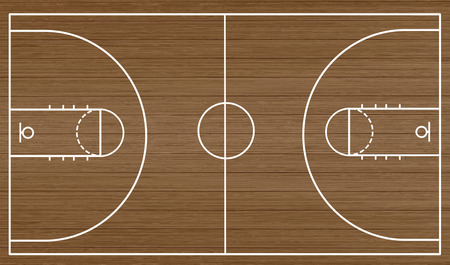 Podłoga boiska do koszykówki na drewnianym tle teksturowanej, ilustracji wektorowych