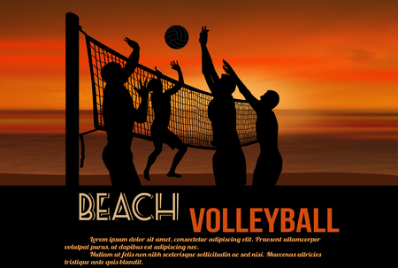 Beach volleyball at beautiful sunset poster with space for your text,, vector illustration