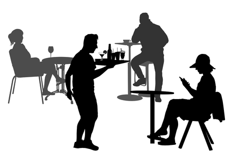 Silhouette of people on table in a cafe and waiter silhouette with the tray, vector illustration