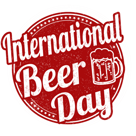 International beer day sign or stamp on white background Vectores