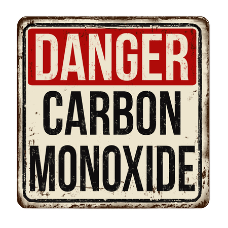 Danger carbon monoxide vintage rusty metal sign on a white background, vector illustration 向量圖像