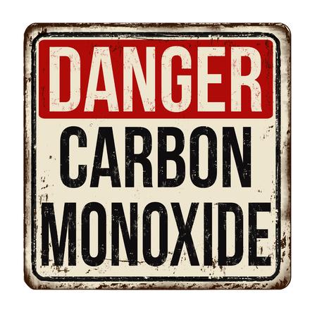 Danger carbon monoxide vintage rusty metal sign on a white background, vector illustration Illustration