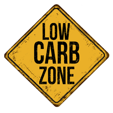 Low carb zone vintage rusty metal sign on a white background, vector illustration Çizim