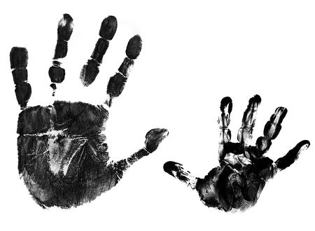 Huellas de manos de la madre y el niño sobre fondo blanco, ilustración vectorial