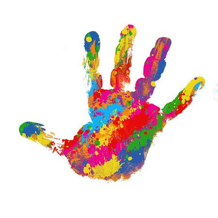 Huella colorida sobre fondo blanco, ilustración vectorial