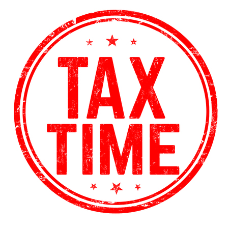 Tax time sign or stamp on white background, vector illustration