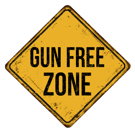 Gun free zone vintage rusty metal sign on a white background, vector illustration Illustration