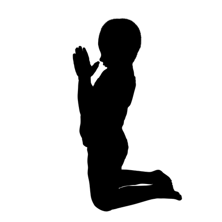 Vector silhouette of a boy who pray on a white background