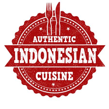 Segno di cucina indonesiana o timbro su sfondo bianco, illustrazione vettoriale