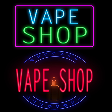Vape shop glowing neon sign on black background, vector illustration