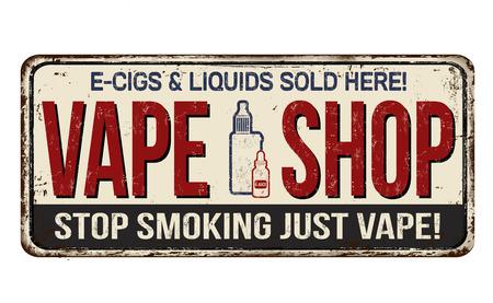 Vape shop vintage rusty metal sign on a white background, vector illustration