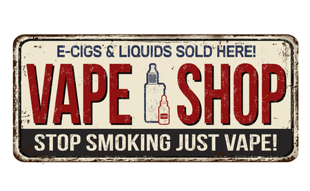 Vape shop vintage rusty metal sign on a white background, vector illustration