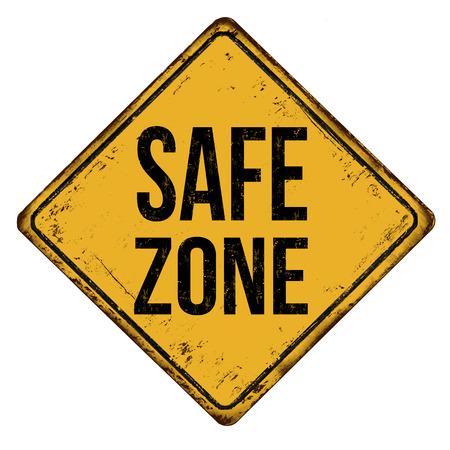 Zona sicura vintage segno di metallo arrugginito su uno sfondo bianco, illustrazione vettoriale