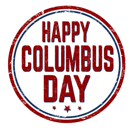 Columbus day sign or stamp on white background, vector illustration