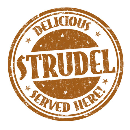 Delicious strudel sign or stamp on white background, vector illustration