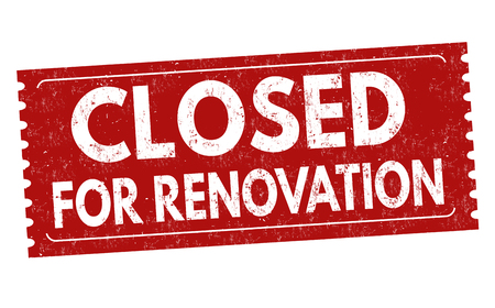 Closed for renovation sign or stamp on white background, vector illustration
