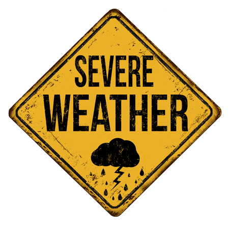 Severe weather vintage rusty metal sign on a white background, vector illustration