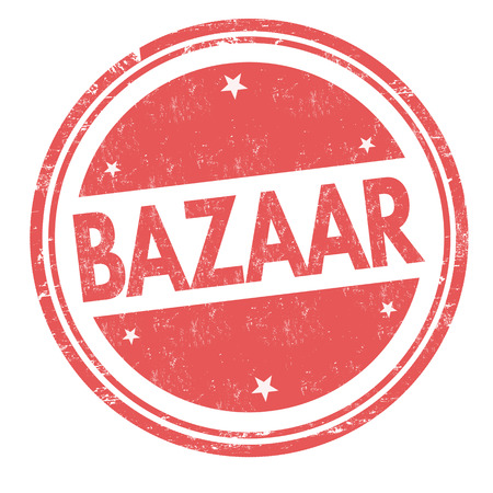 Bazaar sign or stamp on white background, vector illustration Çizim