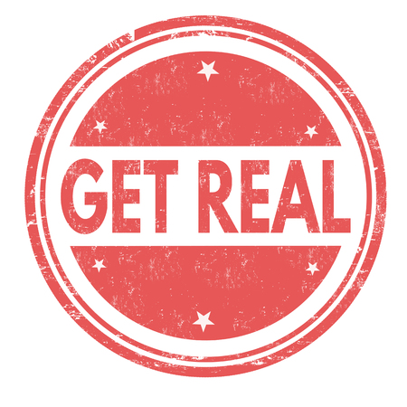 Obtenez un vrai signe ou un timbre sur fond blanc, illustration vectorielle Vecteurs