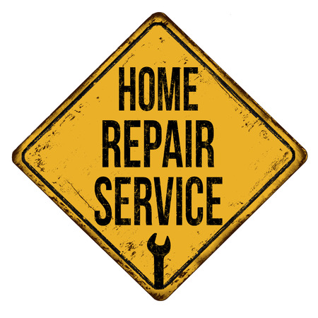 Home repair service vintage rusty metal sign on a white background, vector illustration  イラスト・ベクター素材