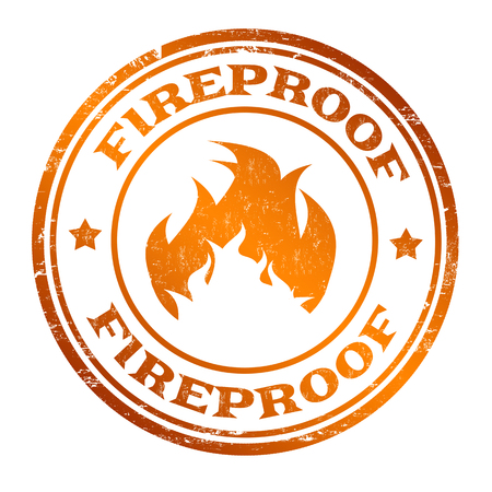Fireproof sign or stamp on white background, vector illustration