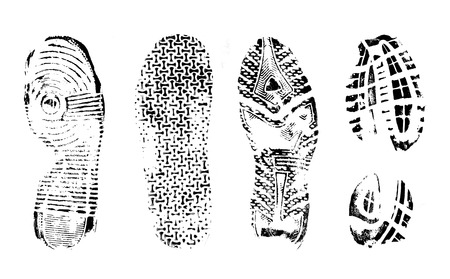 Footprints human shoes silhouette on white background, vector illustration Illustration