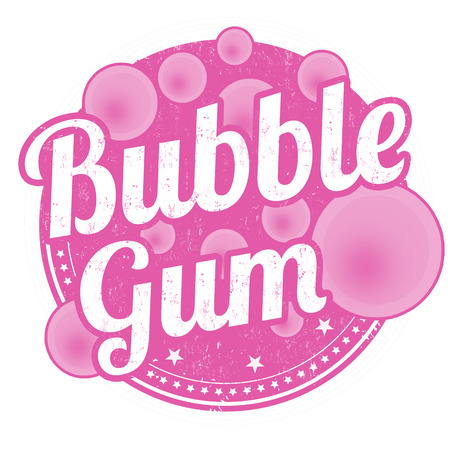 Bubble gum sign or stamp on white background, vector illustration