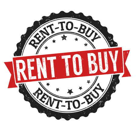 Rent to buy sign or stamp on white background, vector illustration