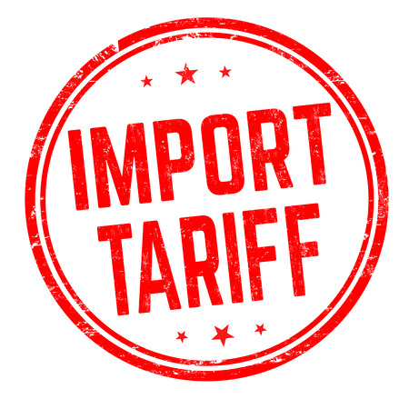 Import tariff sign or stamp on white background, vector illustration Иллюстрация
