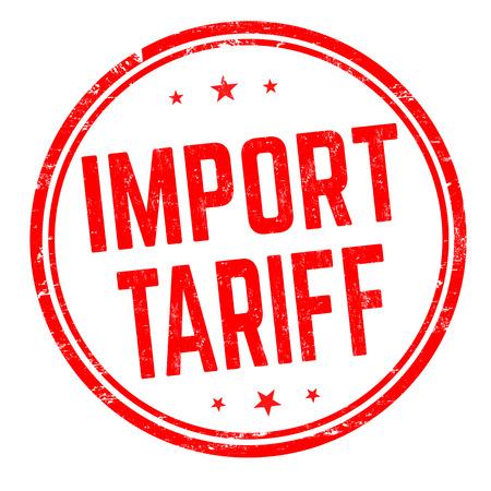 Signe ou timbre de tarif d'importation sur le fond blanc, illustration de vecteur Vecteurs