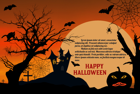 Halloween night with castle, spooky trees and pumpkin on the moon background, vector illustration.