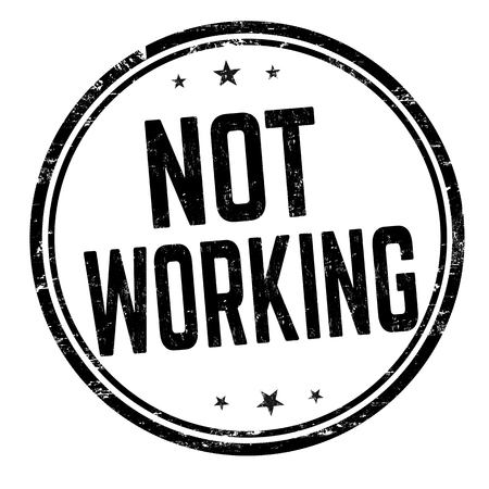 Not working sign or stamp on white background, vector illustration