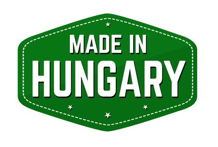 Hecho en Hungría etiqueta o adhesivo sobre fondo blanco, ilustración vectorial