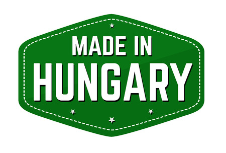 Made in Hungary label or sticker on white background, vector illustration