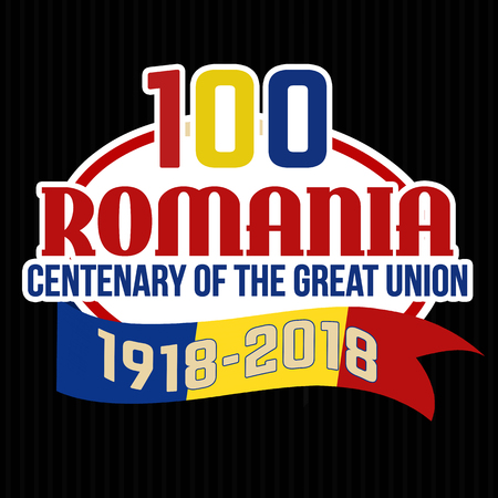 100 Romania centenary of the Great Union label or sticker on black background, vector illustration