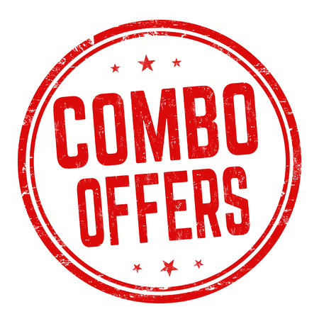 Combo offers sign or stamp on white background, vector illustration