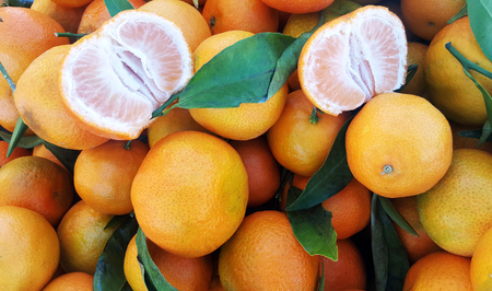 Fresh mandarin oranges background texture