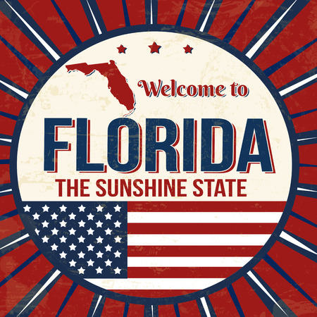 Welcome to Florida vintage grunge poster, vector illustrator 스톡 콘텐츠 - 111494307