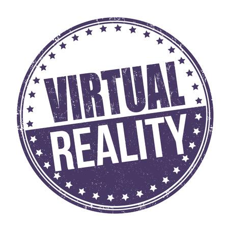 Signe de réalité virtuelle ou timbre sur fond blanc, illustration vectorielle