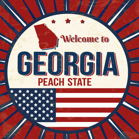 Welcome to Georgia vintage grunge poster, vector illustrator Vectores