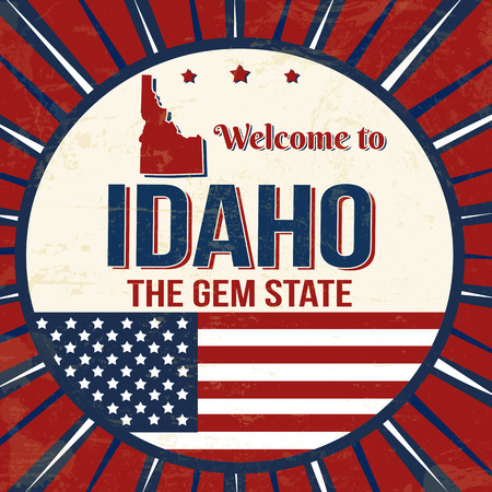 Welcome to Idaho vintage grunge poster, vector illustrator