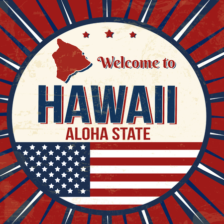 Welcome to Hawaii vintage grunge poster, vector illustrator