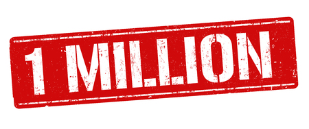 1 million sign or stamp on white background, vector illustration Çizim
