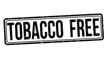 Tobacco free sign or stamp on white background, vector illustration
