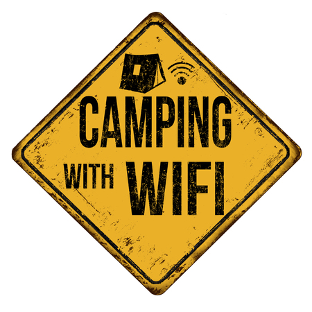 Camping with Wifi vintage rusty metal sign on a white background, vector illustration