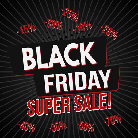 Black friday super sale banner template, vector illustration