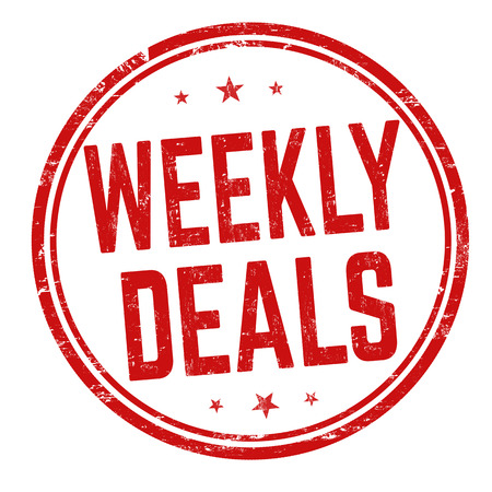 Weekly deals sign or stamp on white background, vector illustration Vetores