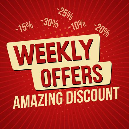 Offerte settimanali, fantastico modello di banner sconto, illustrazione vettoriale